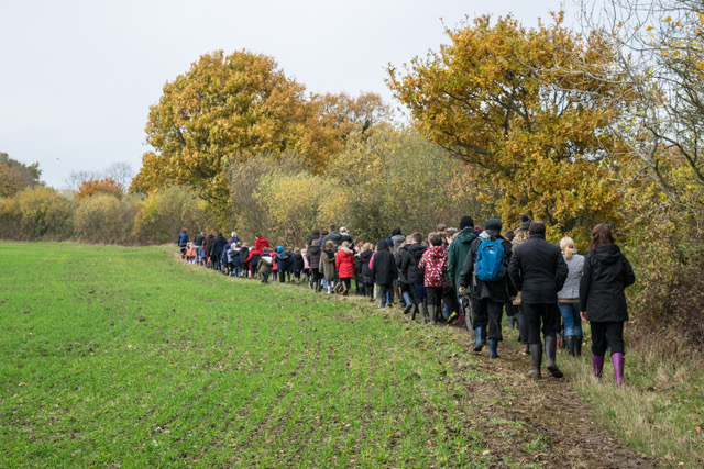 Whole school visit to Grove Piece before the start of planting. 2016